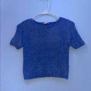 blue sweater crop top